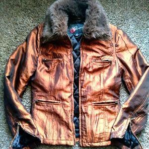 BKE Metallic Copper Jacket w/ Faux Fur Collar XS/S